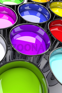 Close up of color can, 3d rendering