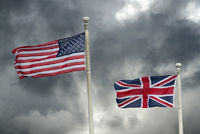 The USA and British flags.