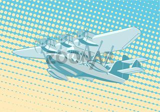 Cartoon Retro Sea Plane