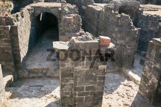Remains of the Roman amphitheater at the Piazza Stesicoro (Stesicoro square)