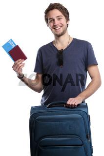 Junger Mann mit Ticket Flugticket Reise reisen verreisen Urlaub fliegen Freisteller