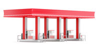 modern gas station isolated on white background