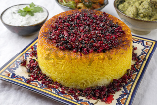 Traditional Rice Pie with Curry and Joghurt on a table