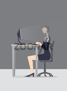 Lifelogging Concept. The computer scans the woman during her surfing the web
