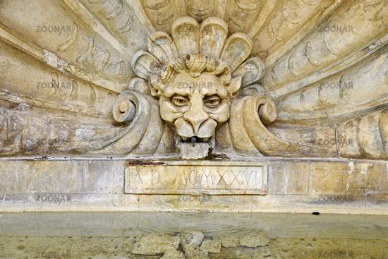 lion head, fountain, Radda in Chianti, Tuscany, Italy, Europe