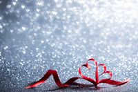 Ribbon hearts and bokeh lights