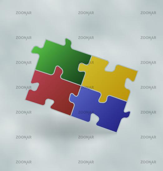 Vintage set colorful puzzle pieces
