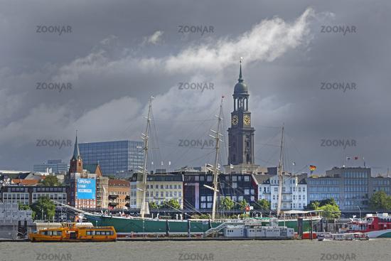 Central Hamburg skyline and tower of Hauptkirche Sankt Michaelis, Saint Michael's Church, along Elbe