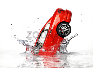 Red generic sedan car, falling into water splashing.
