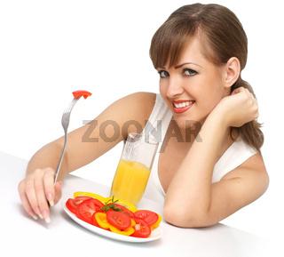 beautiful woman with salad