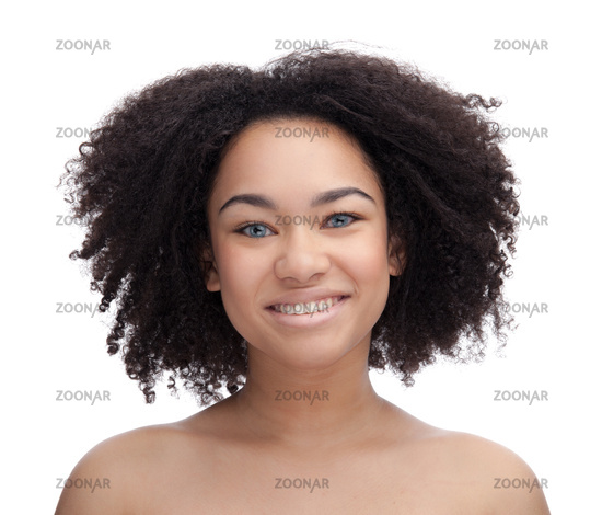 Portrait of a smiling young beautiful african teenage, Isolated on white background