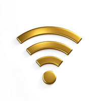WiFi Wireless Symbol. 3D Gold Render Illustration