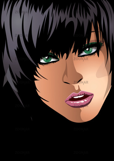 black haired woman