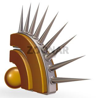 rss-symbol mit stacheln aus metall - 3d illustration