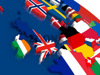 United Kingdom on 3D map with flags