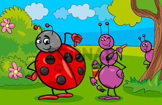 ant and ladybug insect cartoon characters