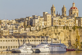 Boats In Vittoriosa City Waterfront, Malta