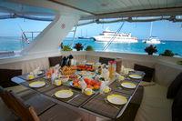 Breakfast on board of Catamaran at Seychelles