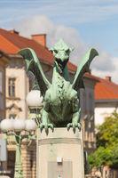 Famous Dragon bridge, symbol of Ljubljana, Slovenia, Europe.