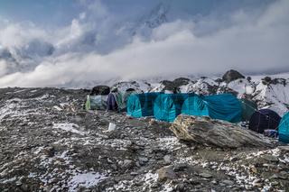 Blue tents on rocks