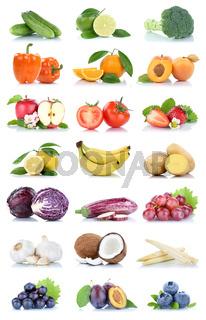 Früchte Obst und Gemüse Apfel Tomaten Orange Zitrone Trauben Beeren Farben Sammlung Freisteller freigestellt isoliert