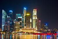Financial illuminated architecture. Singapore