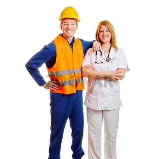 Frau und Mann als Arbeiter und Betriebsarzt