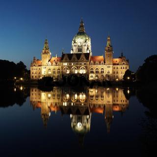 Neues Rathaus Hannover bei Nacht