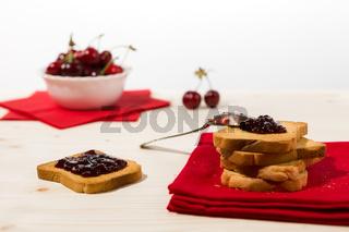 Rusk with cherry jam