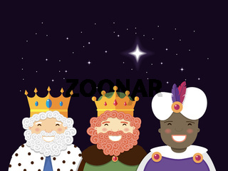 The Three Kings with christmas star. Epiphany day