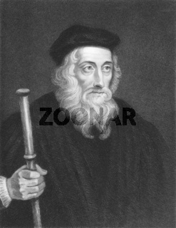 John Wiclif (1320s-1384) on engraving from the 1800s. English theologian