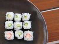 Closeup Of Japan Traditional Seafood Rolls On A Plate