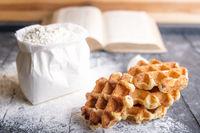 Belgian waffles and bag of flour