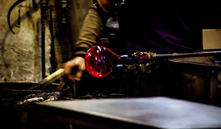 Traditional glass production in Murano, Italy