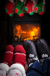 Two pairs of ornamented socks - Christmas family concept