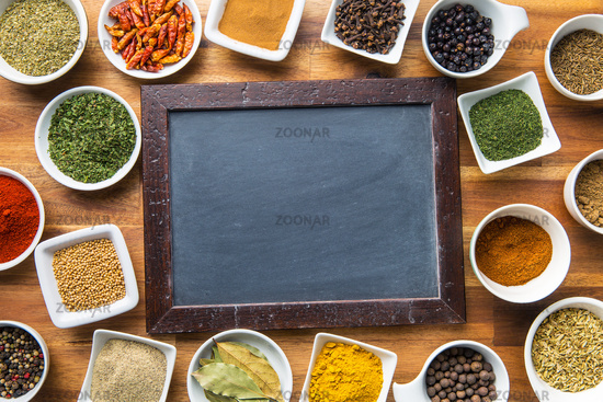 Blank chalkboard and various spices.