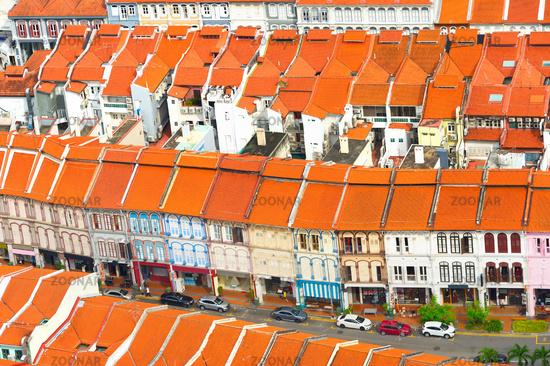 Singapore Chinatown street, aerial view