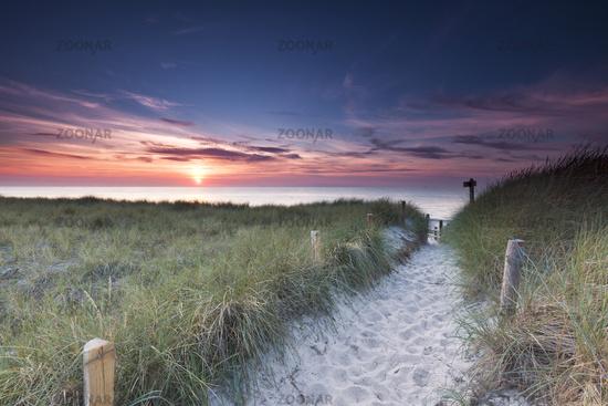 sunset on the baltic beach