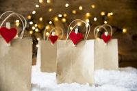 Christmas Shopping Bag, Snow, Lights, Copy Space