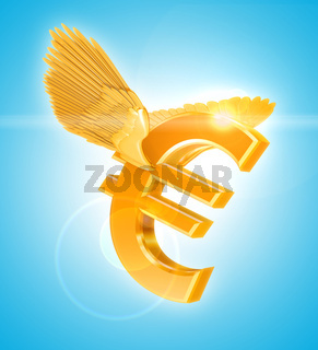 Flying Golden Euro currency sign with wings
