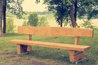 Wooden bench in the public park