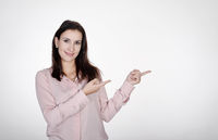 businesswoman pointing with two fingers