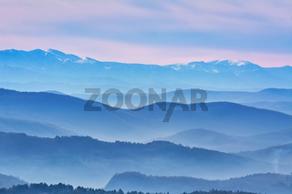 Mountain Ranges in The Fog