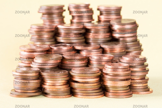 Big stack of the copper coins