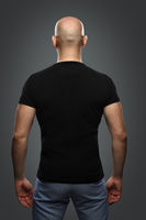 bald man in a T-shirt