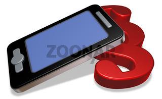 smartphone mit paragraphsymbol auf weißem hintergrund - 3d rendering