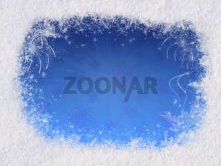 Winter magic frame consists of snow on the edges