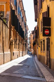 street in Verona town in spring