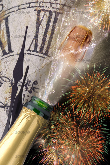 Champagne with flying cork and fireworks for New Year 2017
