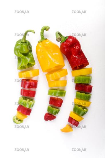 coloured cut paprika